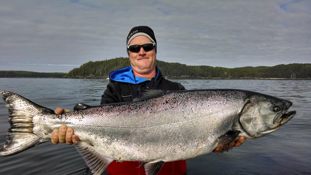 * Robert Fale and guide Al on the final morning got this buzzer beater 44 lb tyee - what a way to close out the trip on a beautiful calm morning.