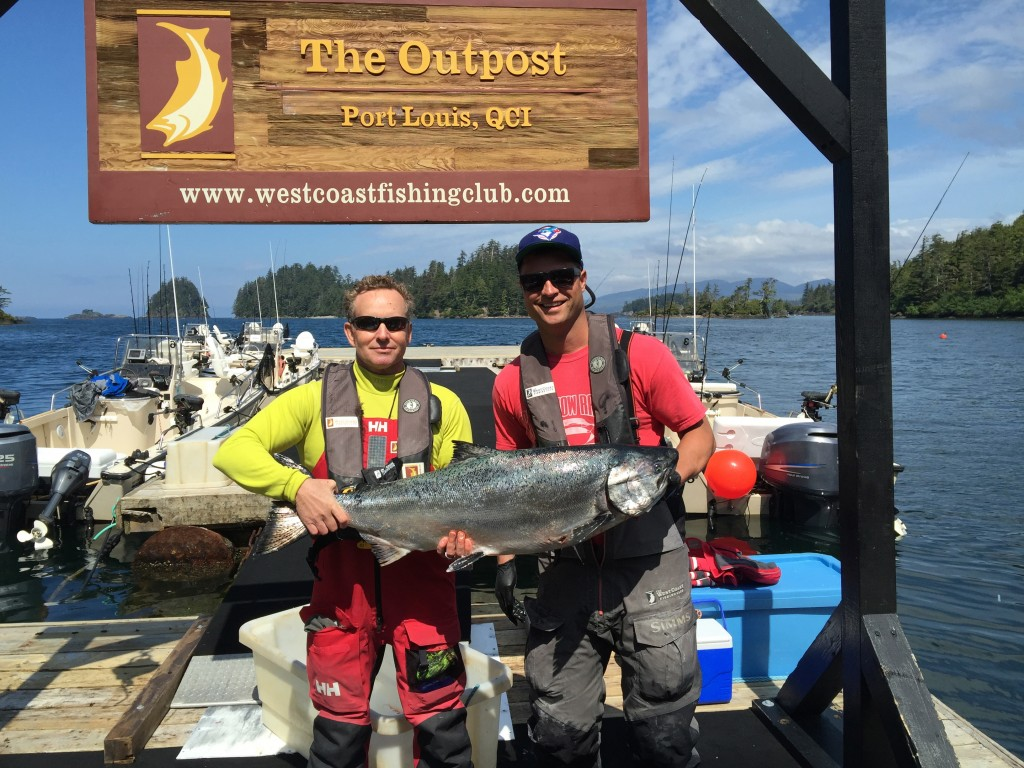 * Brent Ferguson and guide Carl Archibald with a 34lb Tyee.
