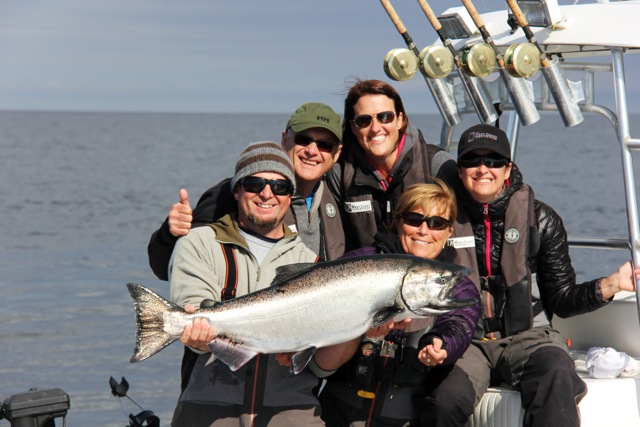 **Yves, Anik, Josee and guide Peter with Lise Barrette's 2nd place fish.