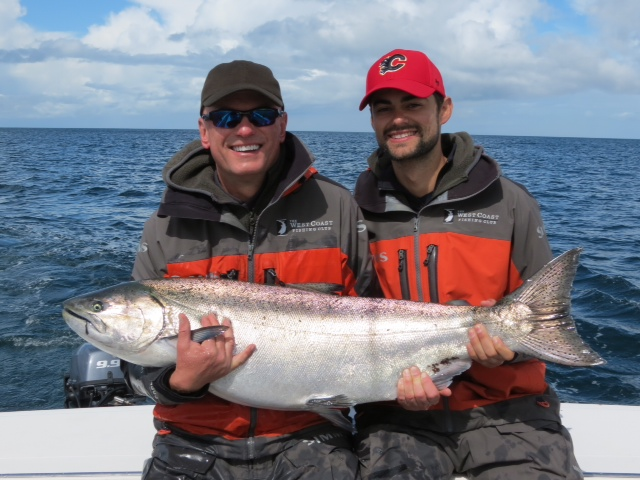 * Mark and Harrison Zivot pose with Mark's 36lb Tyee.