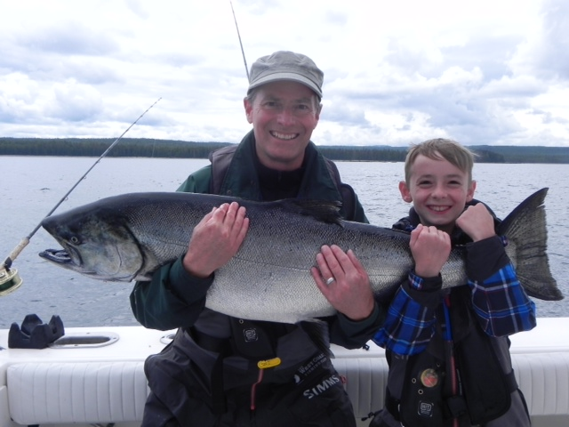 * Scott Burns and his son Clayton hold a 37lb Tyee.